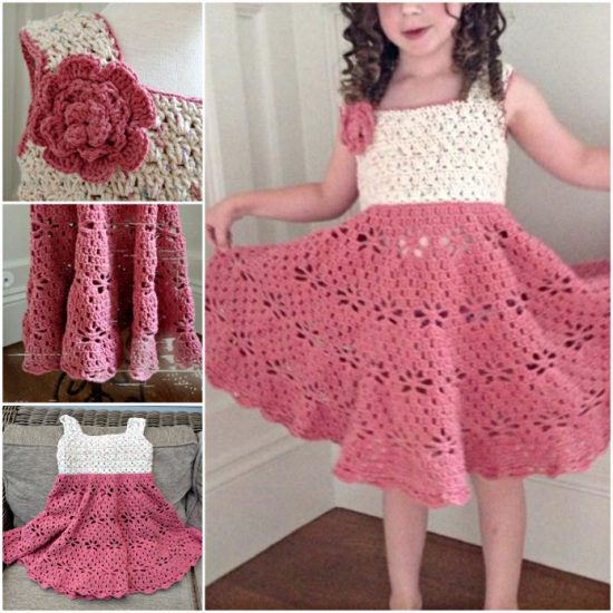 Little Girls Vintage Crochet Dress Free Pattern