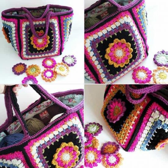 Granny Square Flowers Crochet Bag Free Pattern
