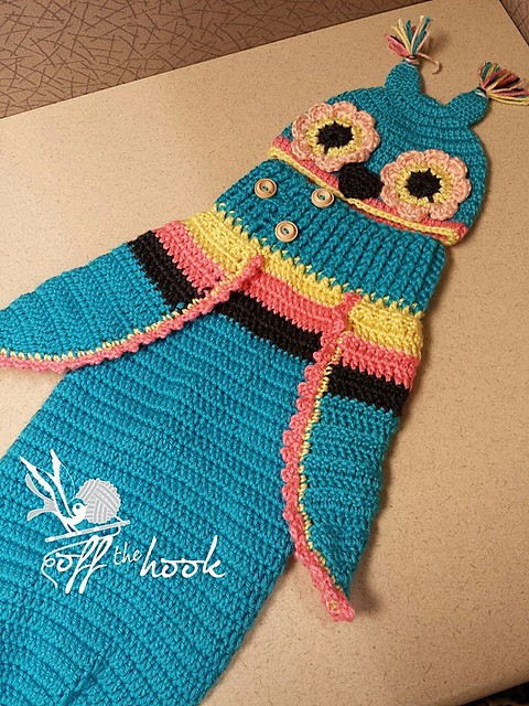 3 Button Baby Owl Cocoon and Hat Free Crochet Pattern