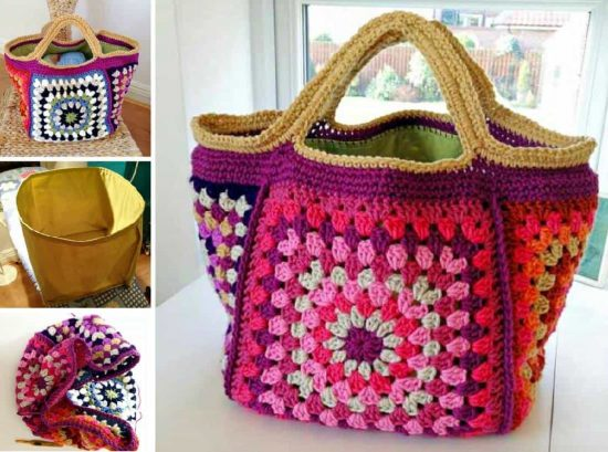 Chunky Retro Granny Stash Bag Free Crochet Pattern